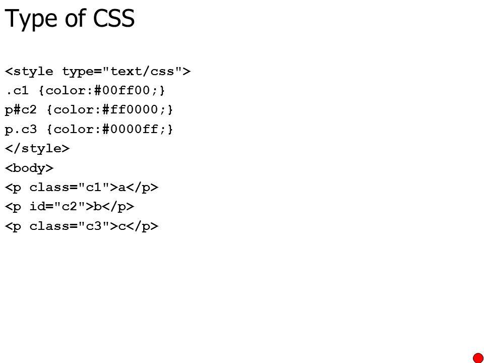 Type of CSS.c1 {color:#00ff00;} p#c2 {color:#ff0000;} p.c3 {color:#0000ff;} a b c
