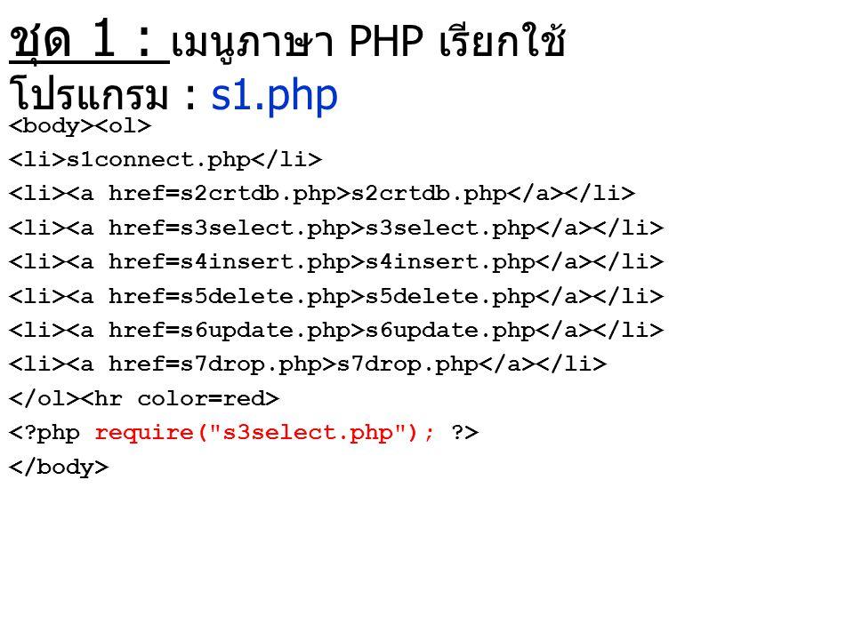 ชุด 1 : เมนูภาษา PHP เรียกใช้ โปรแกรม : s1.php s1connect.php s2crtdb.php s3select.php s4insert.php s5delete.php s6update.php s7drop.php