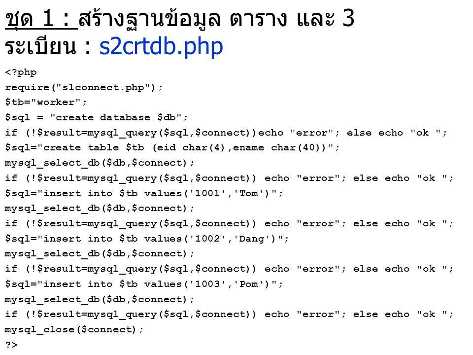 ชุด 1 : สร้างฐานข้อมูล ตาราง และ 3 ระเบียน : s2crtdb.php <?php require(