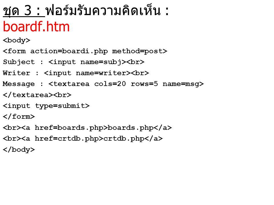 ชุด 3 : ฟอร์มรับความคิดเห็น : boardf.htm Subject : Writer : Message : boards.php crtdb.php
