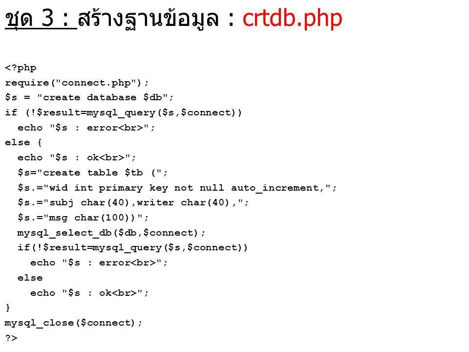 ชุด 3 : สร้างฐานข้อมูล : crtdb.php <?php require(