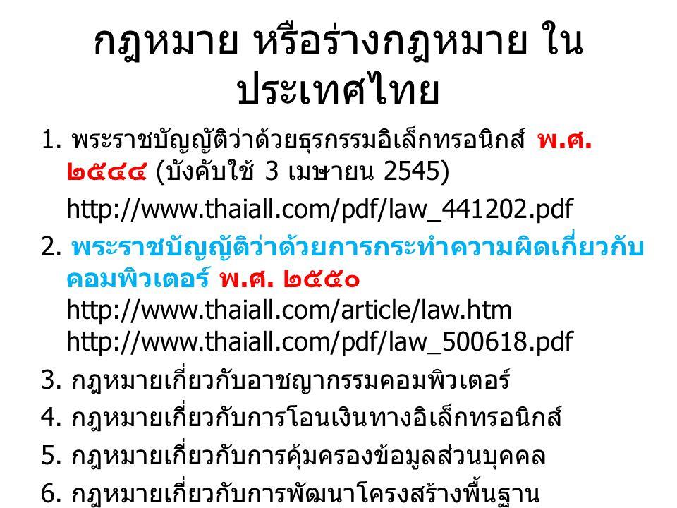 กฎหมาย หรือร่างกฎหมาย ใน ประเทศไทย 1.พระราชบัญญัติว่าด้วยธุรกรรมอิเล็กทรอนิกส์ พ.
