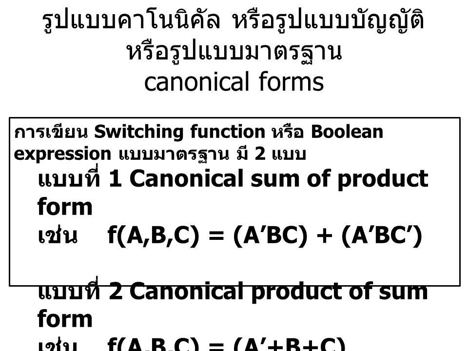 รูปแบบคาโนนิคัล หรือรูปแบบบัญญัติ หรือรูปแบบมาตรฐาน canonical forms การเขียน Switching function หรือ Boolean expression แบบมาตรฐาน มี 2 แบบ แบบที่ 1 C