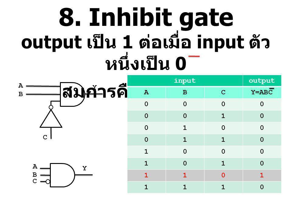 8. Inhibit gate output เป็น 1 ต่อเมื่อ input ตัว หนึ่งเป็น 0 สมการคือ Y=ABC inputoutput ABCY=ABC 0000 0010 0100 0110 1000 1010 1101 1110 A B C Y A B C