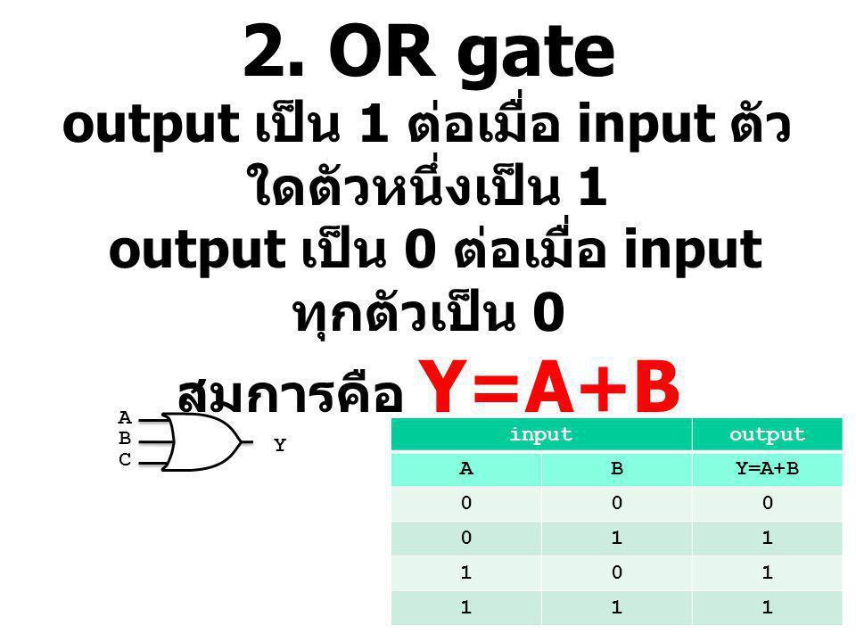 2. OR gate output เป็น 1 ต่อเมื่อ input ตัว ใดตัวหนึ่งเป็น 1 output เป็น 0 ต่อเมื่อ input ทุกตัวเป็น 0 สมการคือ Y=A+B inputoutput ABY=A+B 000 011 101
