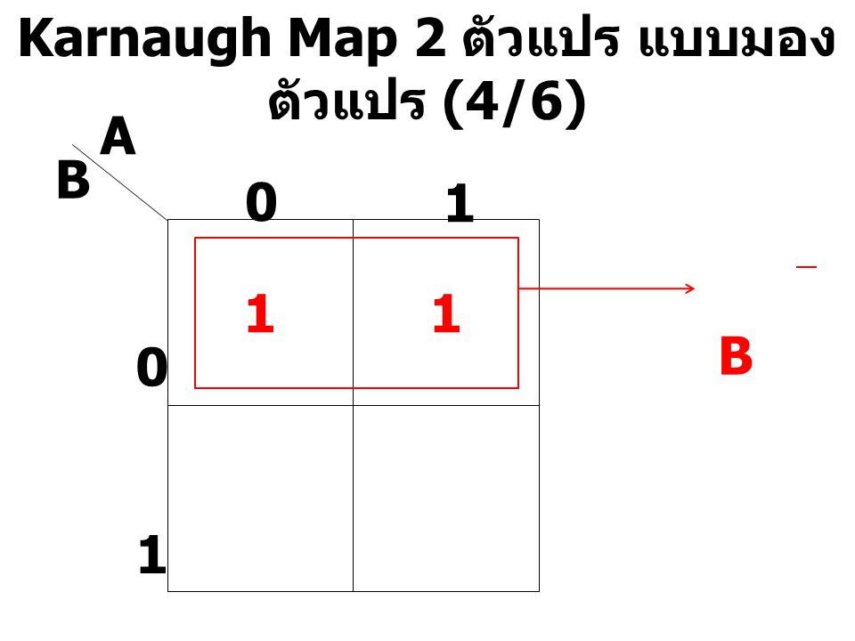 Karnaugh Map 2 ตัวแปร แบบมอง ตัวแปร (4/6) A B 0 1 0 1 11 B