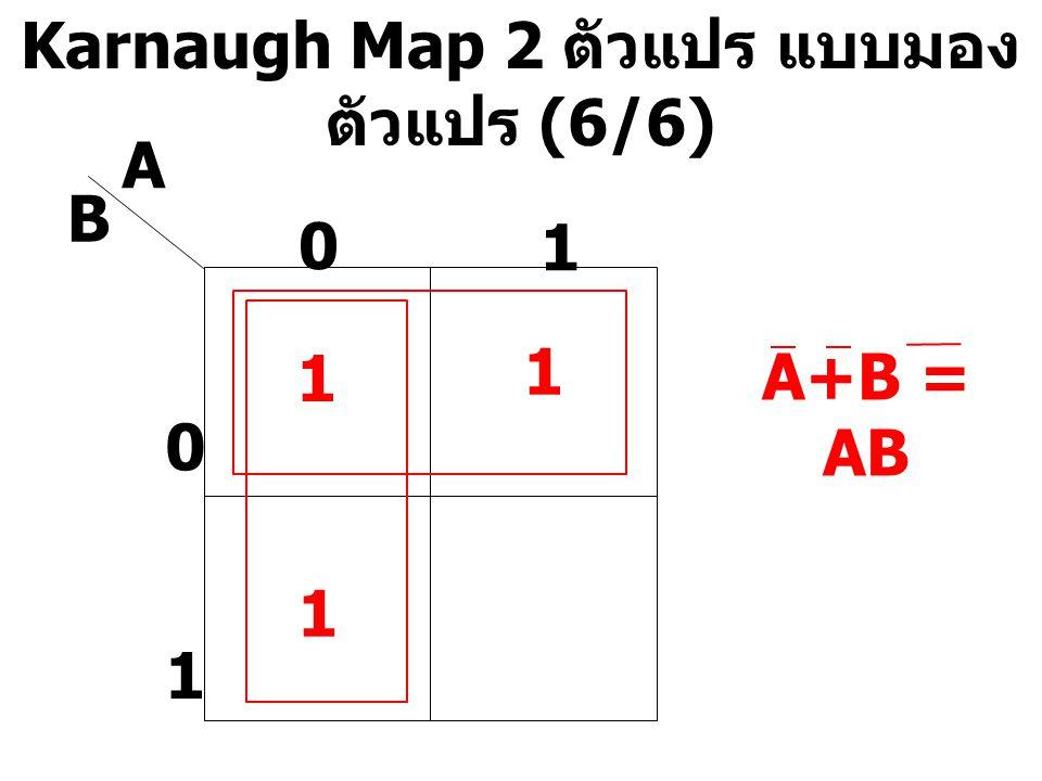 Karnaugh Map 2 ตัวแปร แบบมอง ตัวแปร (6/6) A B 0 1 0 1 1 1 A+B = AB 1