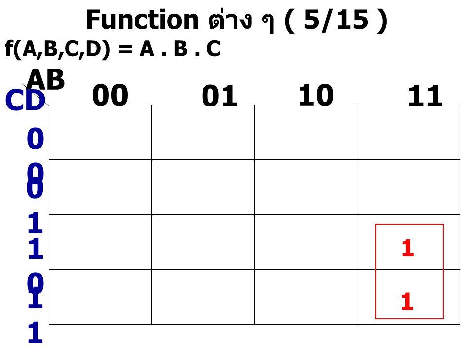 Function ต่าง ๆ ( 5/15 ) f(A,B,C,D) = A. B. C AB CD 0 0101 00 01 10 11 1010 1 1 1