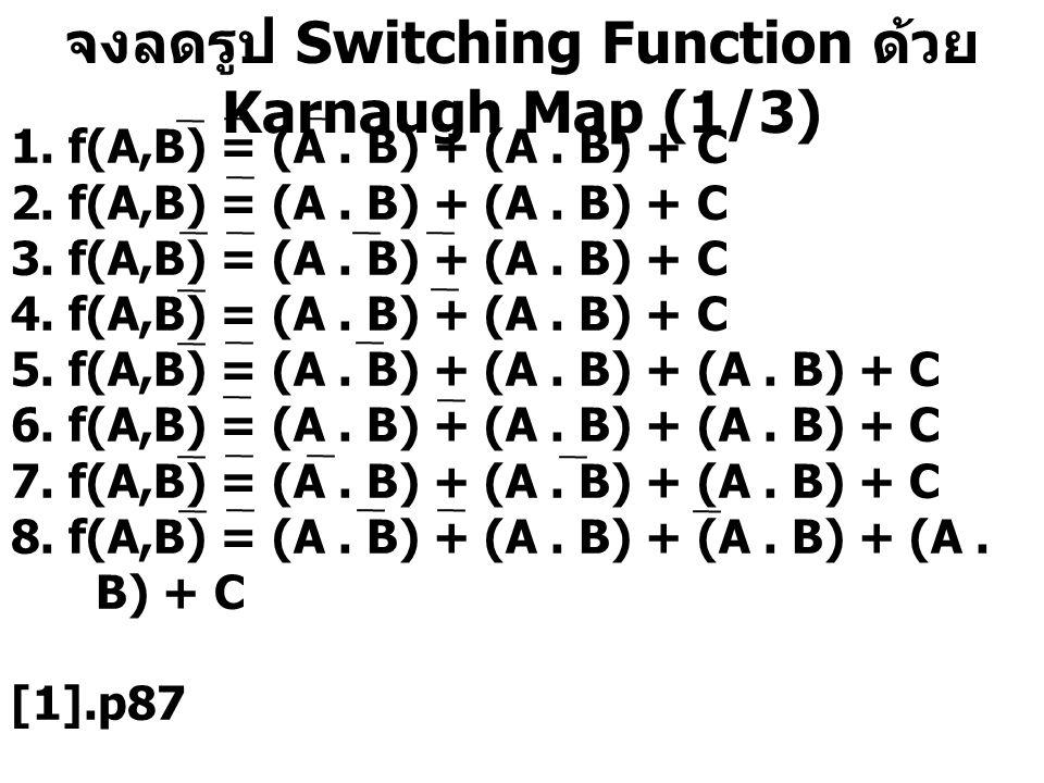 จงลดรูป Switching Function ด้วย Karnaugh Map (1/3) 1. f(A,B) = (A. B) + (A. B) + C 2. f(A,B) = (A. B) + (A. B) + C 3. f(A,B) = (A. B) + (A. B) + C 4.