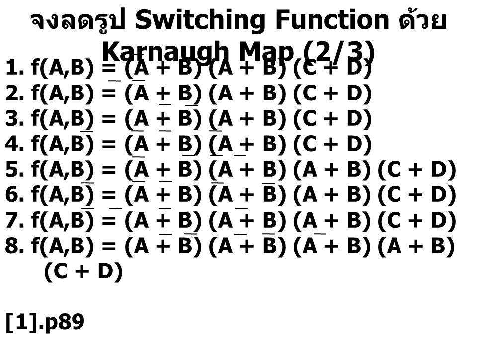 จงลดรูป Switching Function ด้วย Karnaugh Map (2/3) 1. f(A,B) = (A + B) (A + B) (C + D) 2. f(A,B) = (A + B) (A + B) (C + D) 3. f(A,B) = (A + B) (A + B)
