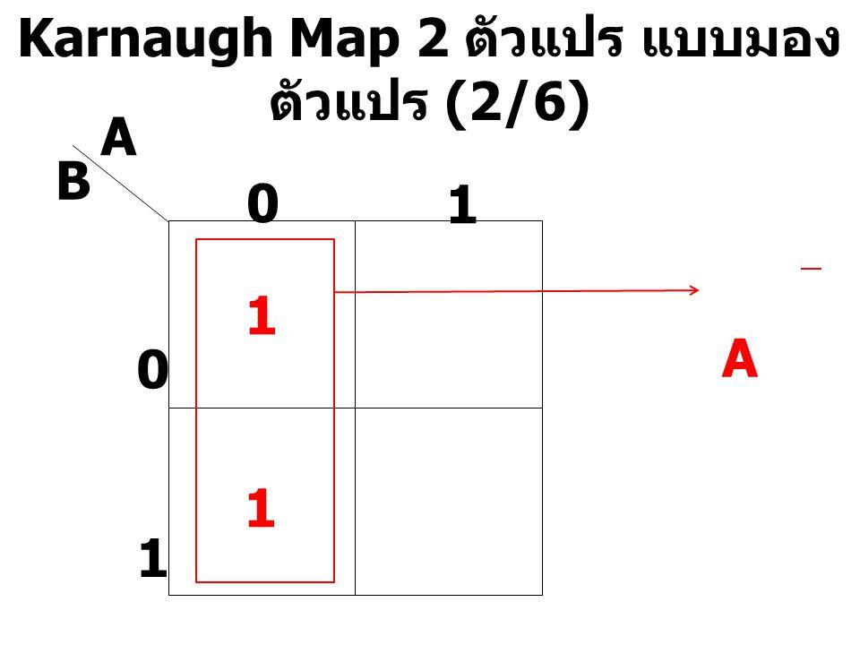 Karnaugh Map 2 ตัวแปร แบบมอง ตัวแปร (2/6) A B 0 1 0 1 1 1 A