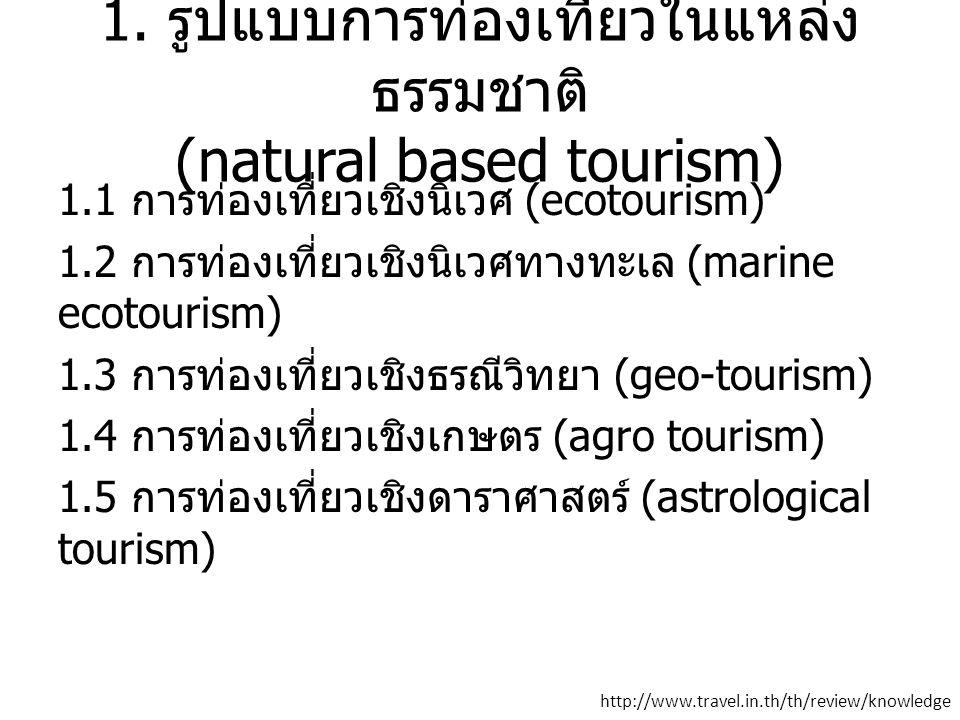 1. รูปแบบการท่องเที่ยวในแหล่ง ธรรมชาติ (natural based tourism) 1.1 การท่องเที่ยวเชิงนิเวศ (ecotourism) 1.2 การท่องเที่ยวเชิงนิเวศทางทะเล (marine ecoto