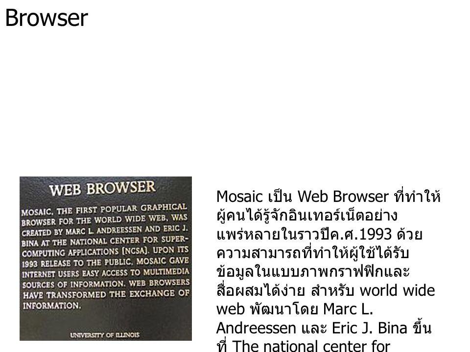 Browser Mosaic เป็น Web Browser ที่ทำให้ ผู้คนได้รู้จักอินเทอร์เน็ตอย่าง แพร่หลายในราวปีค. ศ.1993 ด้วย ความสามารถที่ทำให้ผู้ใช้ได้รับ ข้อมูลในแบบภาพกร