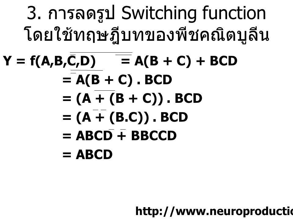 3. การลดรูป Switching function โดยใช้ทฤษฎีบทของพีชคณิตบูลีน Y = f(A,B,C,D) = A(B + C) + BCD = A(B + C). BCD = (A + (B + C)). BCD = (A + (B.C)). BCD =