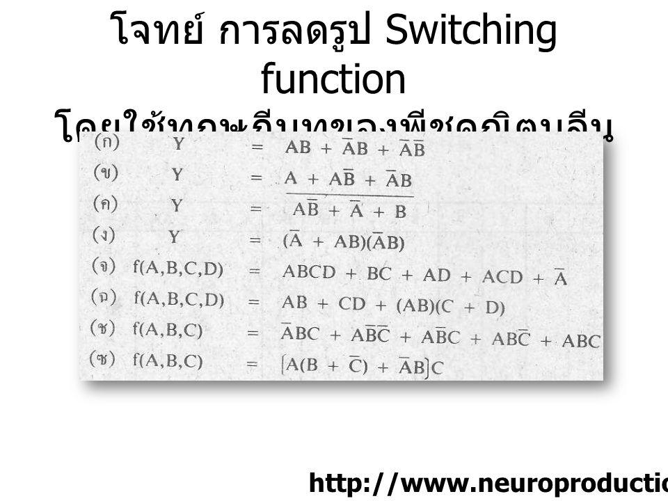 โจทย์ การลดรูป Switching function โดยใช้ทฤษฎีบทของพีชคณิตบูลีน [1]p.50 http://www.neuroproductions.be/logic-lab