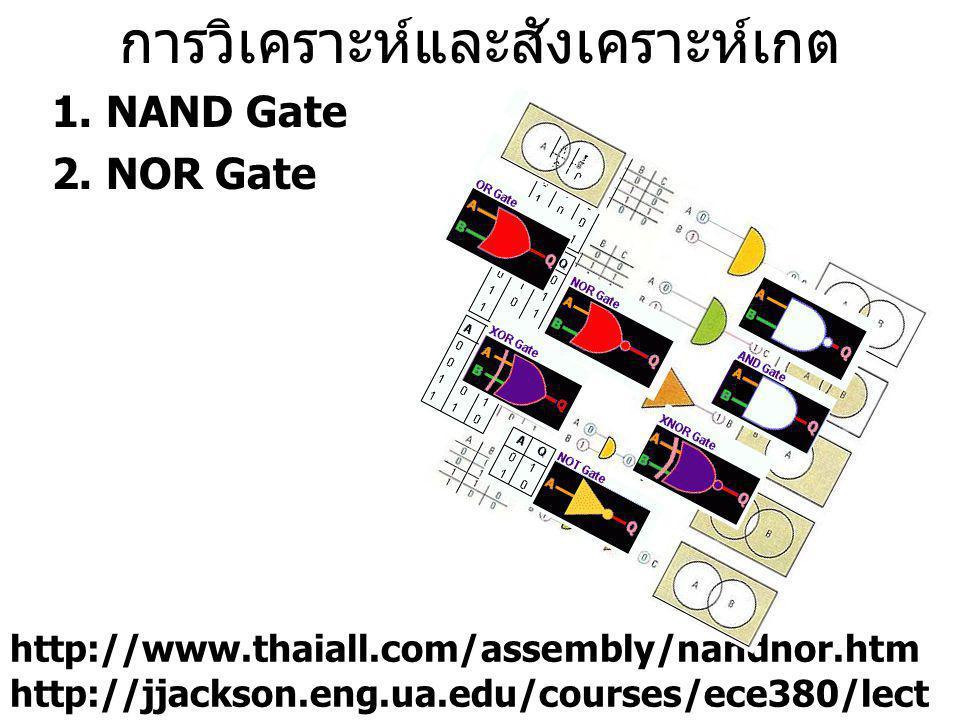 การวิเคราะห์และสังเคราะห์เกต 1.NAND Gate 2.NOR Gate http://www.thaiall.com/assembly/nandnor.htm http://jjackson.eng.ua.edu/courses/ece380/lect ures/lect15-6.pdf