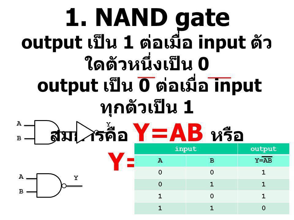 1. NAND gate output เป็น 1 ต่อเมื่อ input ตัว ใดตัวหนึ่งเป็น 0 output เป็น 0 ต่อเมื่อ input ทุกตัวเป็น 1 สมการคือ Y=AB หรือ Y=A.B inputoutput ABY=AB 0