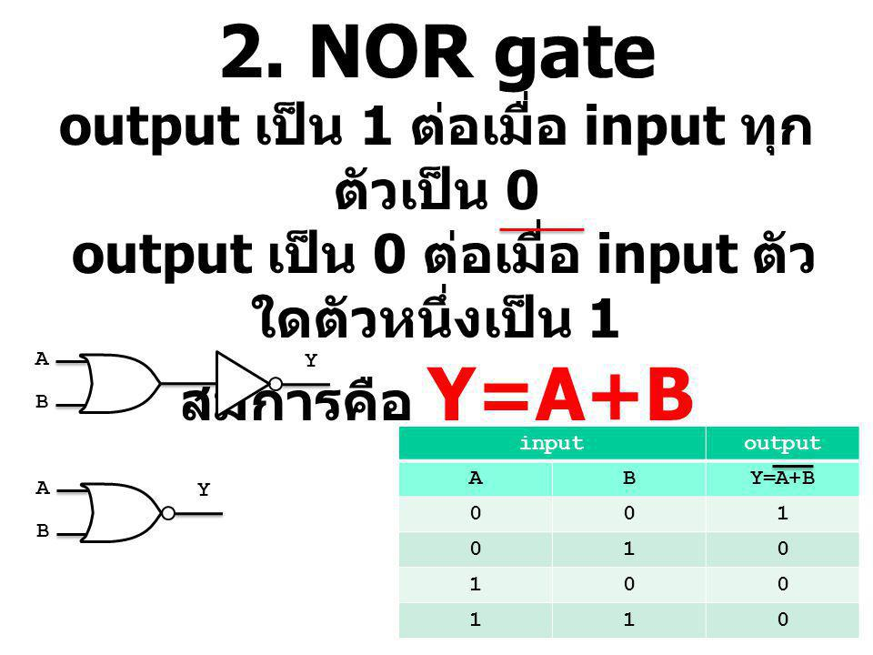 2. NOR gate output เป็น 1 ต่อเมื่อ input ทุก ตัวเป็น 0 output เป็น 0 ต่อเมื่อ input ตัว ใดตัวหนึ่งเป็น 1 สมการคือ Y=A+B inputoutput ABY=A+B 001 010 10