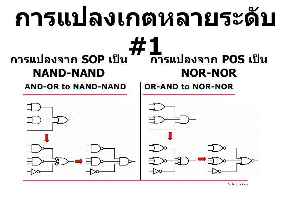 การแปลงเกตหลายระดับ #1 การแปลงจาก SOP เป็น NAND-NAND การแปลงจาก POS เป็น NOR-NOR