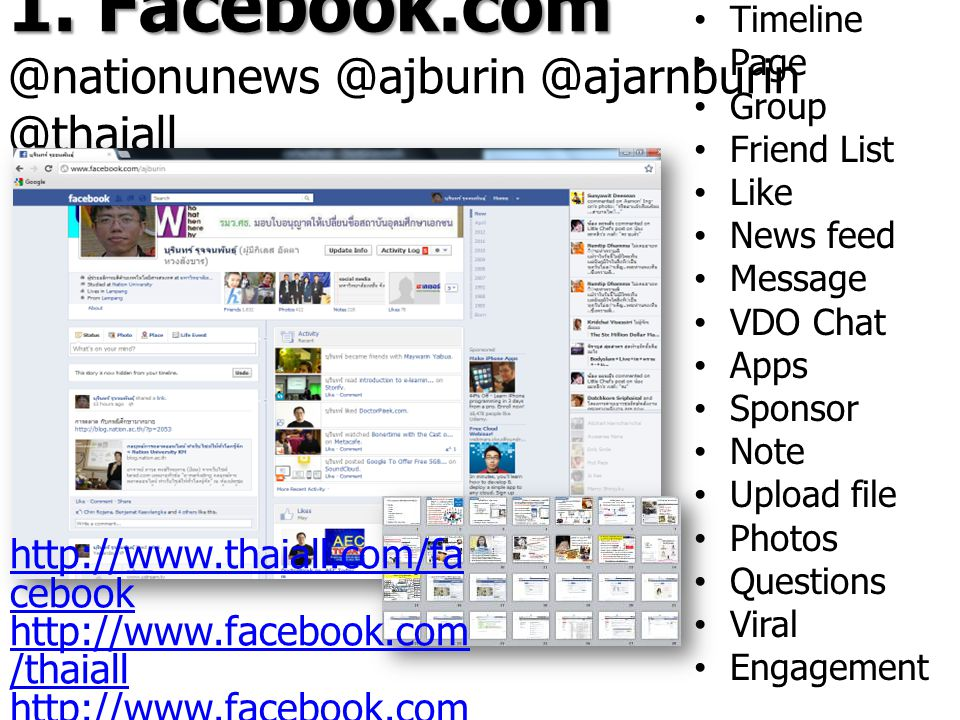 1. Facebook.com 1. Facebook.com @nationunews @ajburin @ajarnburin @thaiall Timeline Page Group Friend List Like News feed Message VDO Chat Apps Sponso
