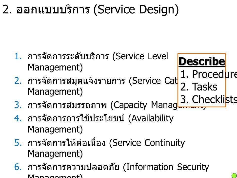 2. ออกแบบบริการ (Service Design) 1. การจัดการระดับบริการ (Service Level Management) 2. การจัดการสมุดแจ้งรายการ (Service Catalog Management) 3. การจัดก