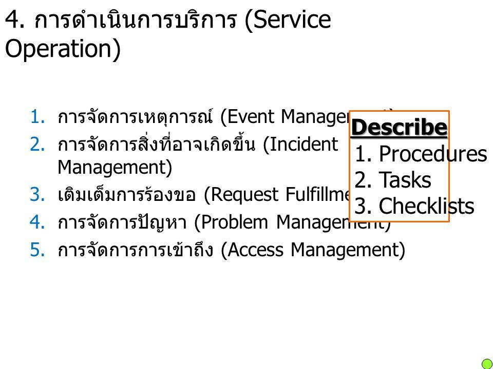 4. การดำเนินการบริการ (Service Operation) 1. การจัดการเหตุการณ์ (Event Management) 2. การจัดการสิ่งที่อาจเกิดขึ้น (Incident Management) 3. เติมเต็มการ