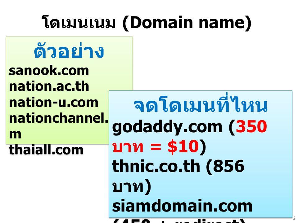 โดเมนเนม (Domain name) ตัวอย่าง sanook.com nation.ac.th nation-u.com nationchannel.co m thaiall.com ตัวอย่าง sanook.com nation.ac.th nation-u.com nati