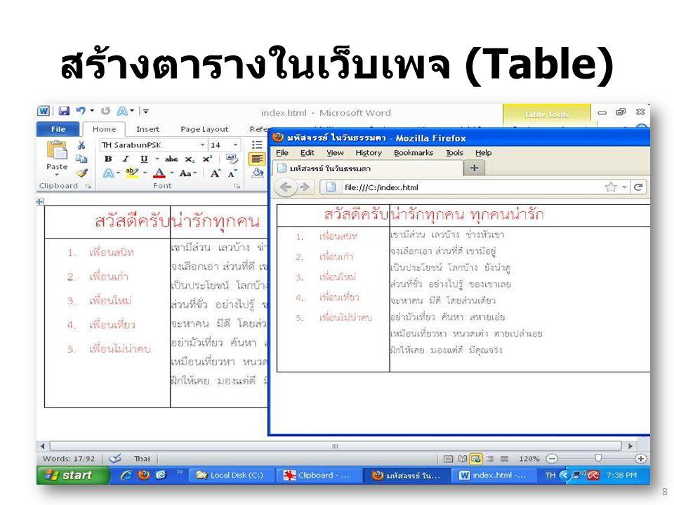 สร้างตารางในเว็บเพจ (Table) 8