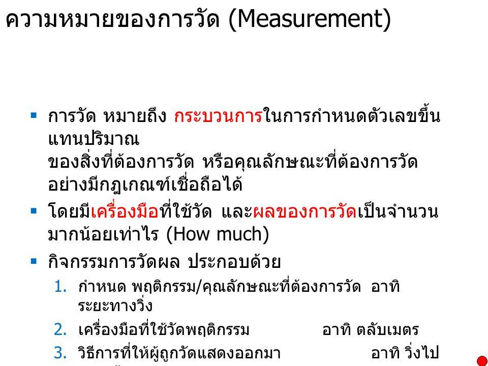 ความหมายของการวัด (Measurement)  การวัด หมายถึง กระบวนการในการกำหนดตัวเลขขึ้น แทนปริมาณ ของสิ่งที่ต้องการวัด หรือคุณลักษณะที่ต้องการวัด อย่างมีกฎเกณฑ์เชื่อถือได้  โดยมีเครื่องมือที่ใช้วัด และผลของการวัดเป็นจำนวน มากน้อยเท่าไร (How much)  กิจกรรมการวัดผล ประกอบด้วย 1.