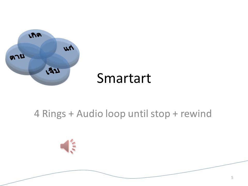 Smartart 4 Rings + Audio loop until stop + rewind 5