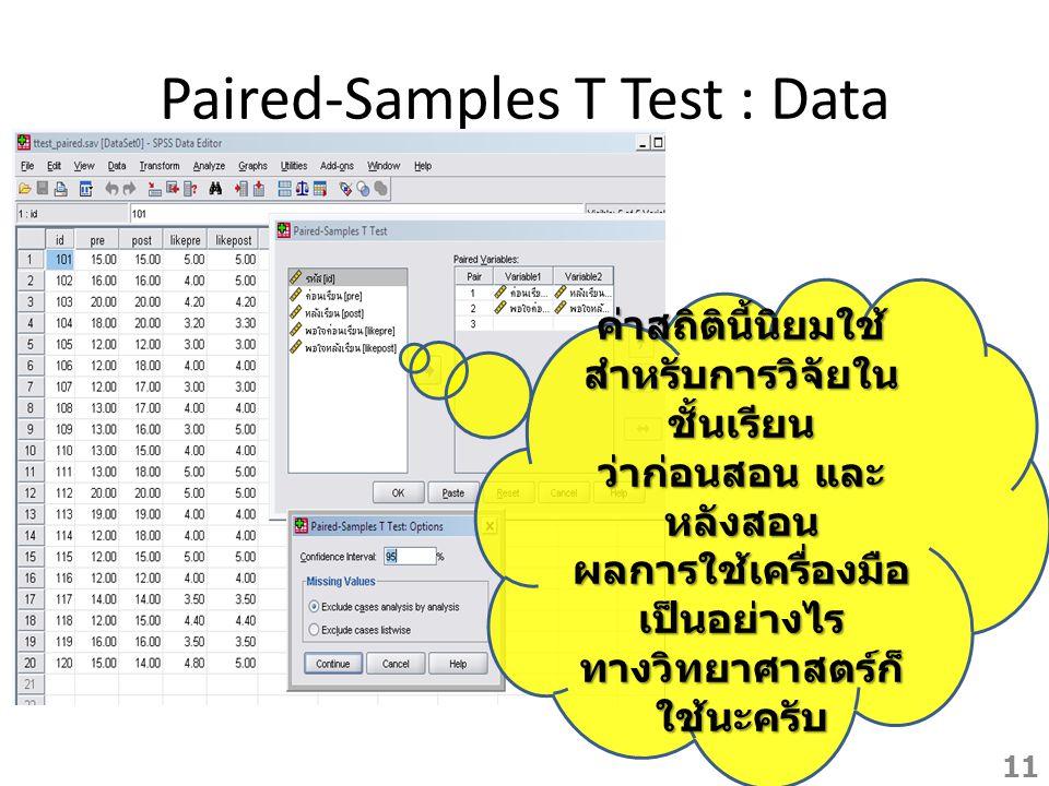 Paired-Samples T Test : Data ค่าสถิตินี้นิยมใช้ สำหรับการวิจัยใน ชั้นเรียน ว่าก่อนสอน และ หลังสอน ผลการใช้เครื่องมือ เป็นอย่างไร ทางวิทยาศาสตร์ก็ ใช้น