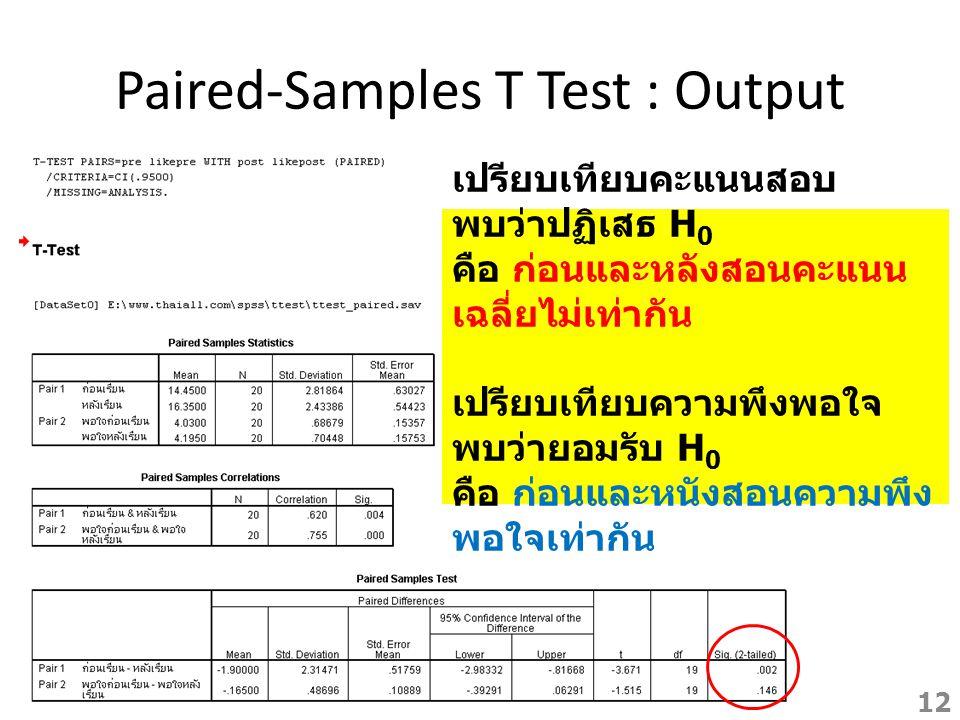 Paired-Samples T Test : Output เปรียบเทียบคะแนนสอบ พบว่าปฏิเสธ H 0 คือ ก่อนและหลังสอนคะแนน เฉลี่ยไม่เท่ากัน เปรียบเทียบความพึงพอใจ พบว่ายอมรับ H 0 คือ
