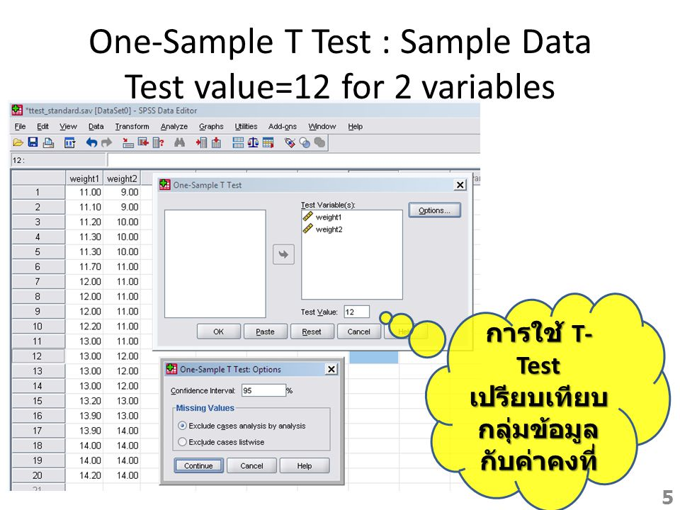 One-Sample T Test : Sample Data Test value=12 for 2 variables การใช้ T- Test เปรียบเทียบ กลุ่มข้อมูล กับค่าคงที่ 5
