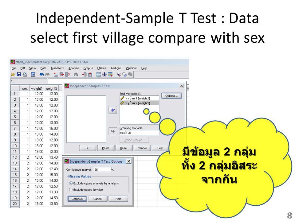 Independent-Sample T Test : Output หมู่บ้าน 1 จาก sig พบว่า ปฏิเสธ H0 คือ ความแปรปรวนไม่ เท่ากัน หรือต่างกัน ดู sig ของ Equal variances Assumed พบว่ายอมรับ H0 คือ เด็กชายกับเด็กหญิง น้ำหนักเท่ากัน แต่หมู่บ้านที่ 2 น้ำหนักไม่ เท่ากัน 9