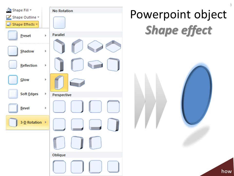 Shape effect Powerpoint object Shape effect 3 how