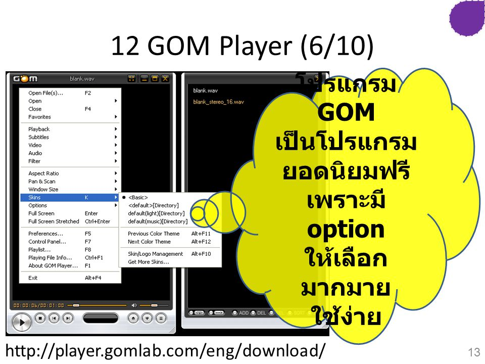 12 GOM Player (6/10) โปรแกรม GOM เป็นโปรแกรม ยอดนิยมฟรี เพราะมี option ให้เลือก มากมาย ใช้ง่าย http://player.gomlab.com/eng/download/ 13