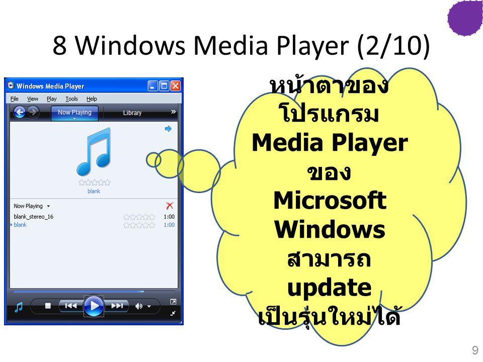 8 Windows Media Player (2/10) หน้าตาของ โปรแกรม Media Player ของ Microsoft Windows สามารถ update เป็นรุ่นใหม่ได้ 9
