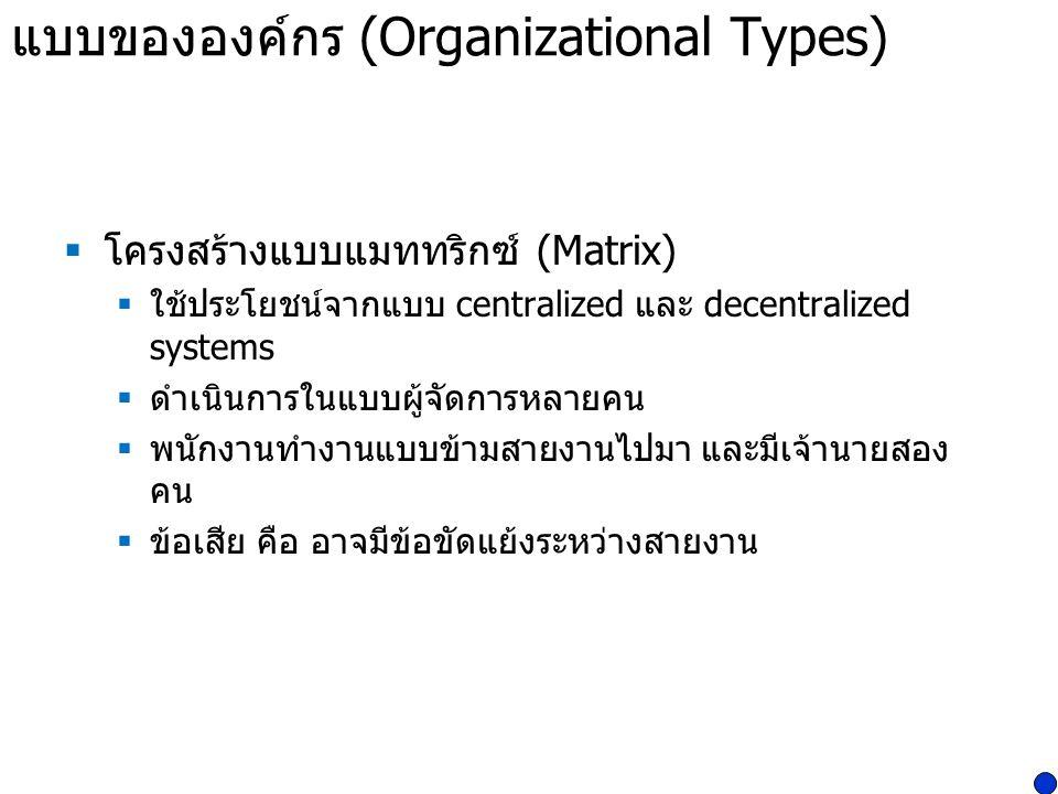 แบบขององค์กร (Organizational Types)  โครงสร้างแบบแมททริกซ์ (Matrix)  ใช้ประโยชน์จากแบบ centralized และ decentralized systems  ดำเนินการในแบบผู้จัดก