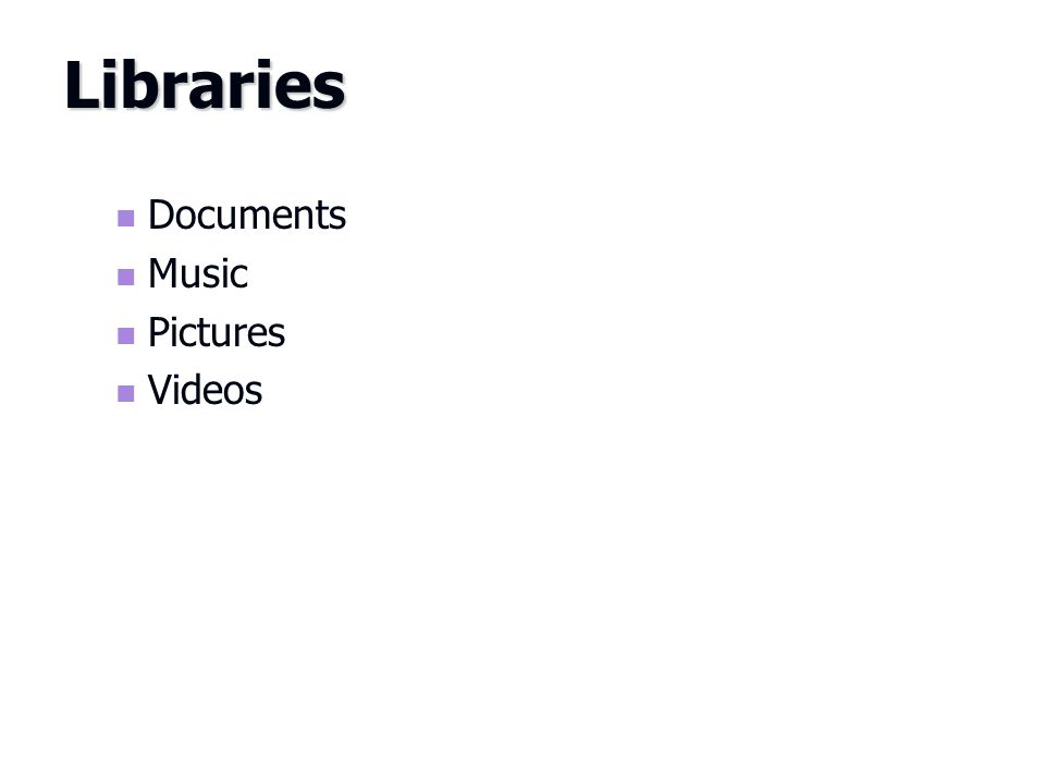 Documents Music Pictures Videos Libraries
