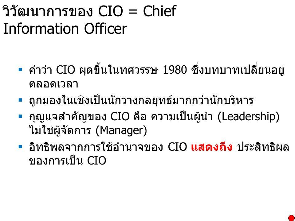 วิวัฒนาการของ CIO = Chief Information Officer  คำว่า CIO ผุดขึ้นในทศวรรษ 1980 ซึ่งบทบาทเปลี่ยนอยู่ ตลอดเวลา  ถูกมองในเชิงเป็นนักวางกลยุทธ์มากกว่านัก
