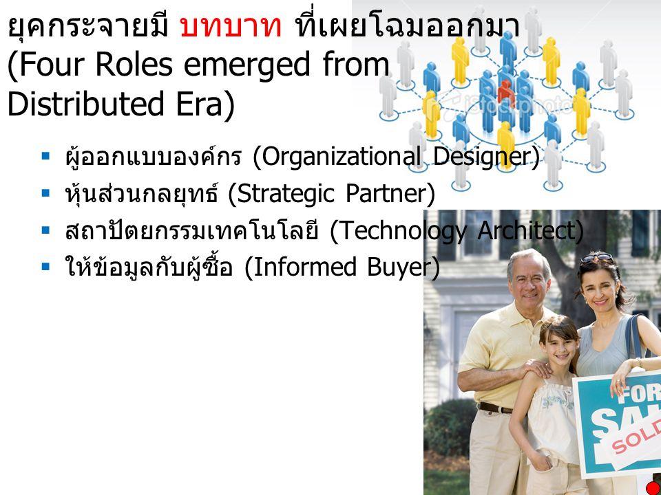 ยุคกระจายมี บทบาท ที่เผยโฉมออกมา (Four Roles emerged from Distributed Era)  ผู้ออกแบบองค์กร (Organizational Designer)  หุ้นส่วนกลยุทธ์ (Strategic Pa