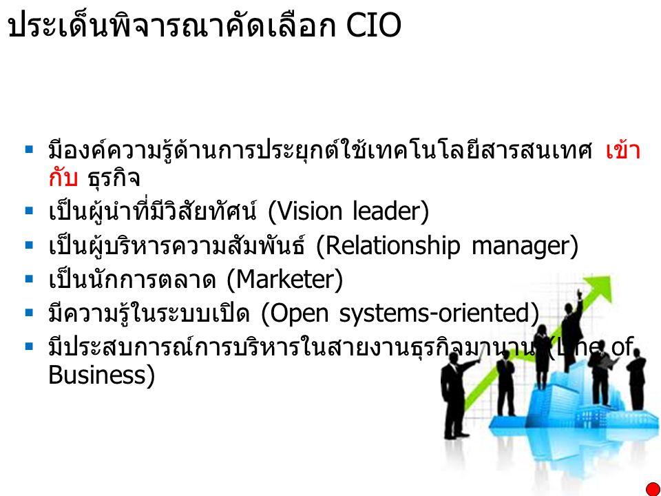 ประเด็นพิจารณาคัดเลือก CIO  มีองค์ความรู้ด้านการประยุกต์ใช้เทคโนโลยีสารสนเทศ เข้า กับ ธุรกิจ  เป็นผู้นำที่มีวิสัยทัศน์ (Vision leader)  เป็นผู้บริห