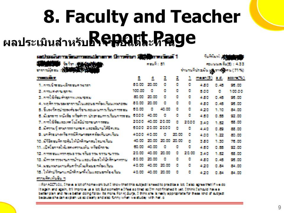 8. Faculty and Teacher Report Page 9 ผลประเมินสำหรับอาจารย์แต่ละท่าน