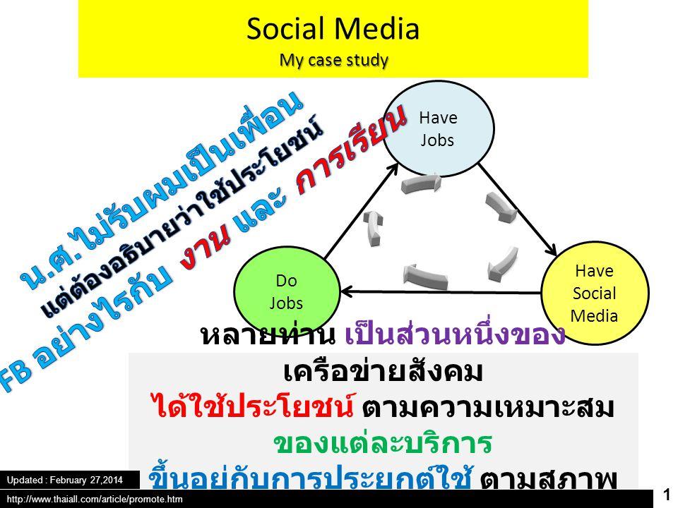 Have Jobs Have Social Media Do Jobs Social Media My case study หลายท่าน เป็นส่วนหนึ่งของ เครือข่ายสังคม ได้ใช้ประโยชน์ ตามความเหมาะสม ของแต่ละบริการ ขึ้นอยู่กับการประยุกต์ใช้ ตามสภาพ งานที่แตกต่างกันไป 1 http://www.thaiall.com/article/promote.htm Updated : February 27,2014