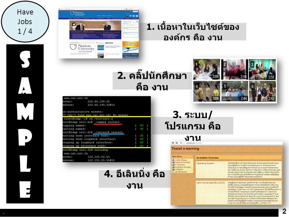5.ประชุมวิชาการ คือ งาน 3 - Have Jobs 2 / 4 7. แห่เทียน พรรษา คือ งาน SAMPLESAMPLE 6.