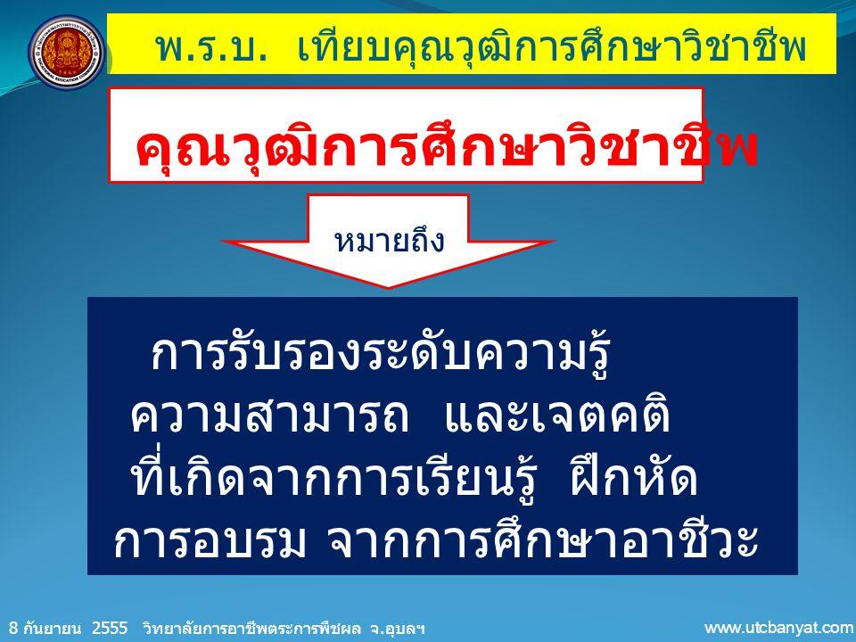พ. ร. บ. เทียบคุณวุฒิการศึกษาวิชาชีพ 8 กันยายน 2555 วิทยาลัยการอาชีพตระการพืชผล จ. อุบลฯ www.utcbanyat.com คุณวุฒิการศึกษาวิชาชีพ การรับรองระดับความรู