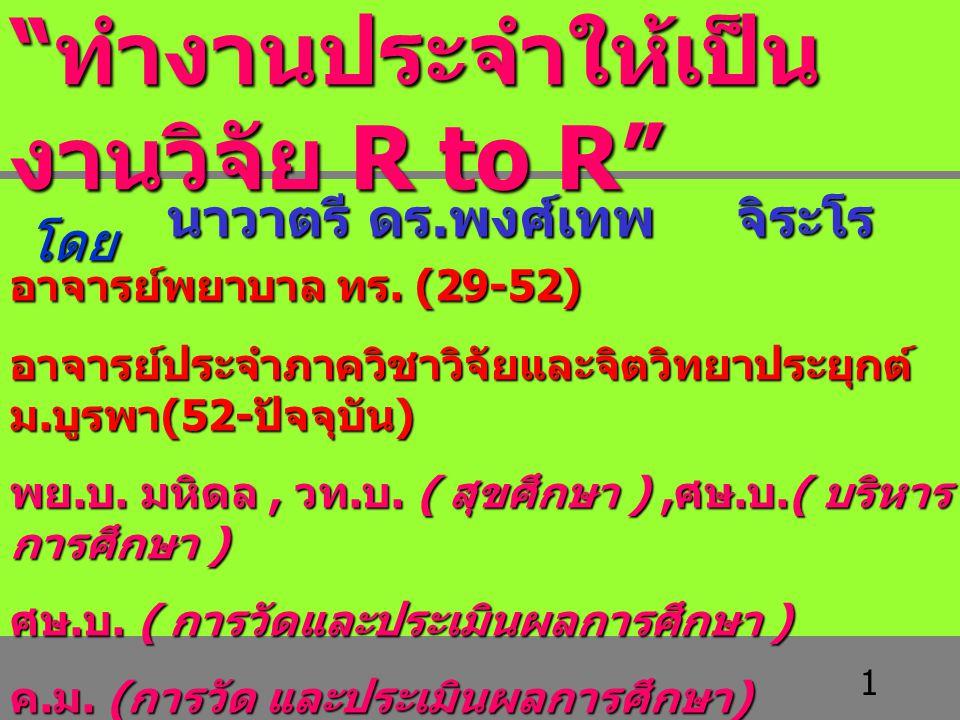 1 นาวาตรี ดร. พงศ์เทพ จิระโร อาจารย์พยาบาล ทร. (29-52) อาจารย์ประจำภาควิชาวิจัยและจิตวิทยาประยุกต์ ม. บูรพา (52- ปัจจุบัน ) พย. บ. มหิดล, วท. บ. ( สุข