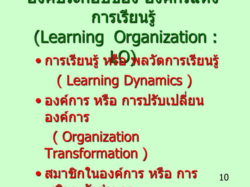 10 องค์ประกอบของ องค์กรแห่ง การเรียนรู้ (Learning Organization : LO) การเรียนรู้ หรือ พลวัตการเรียนรู้ การเรียนรู้ หรือ พลวัตการเรียนรู้ ( Learning Dy