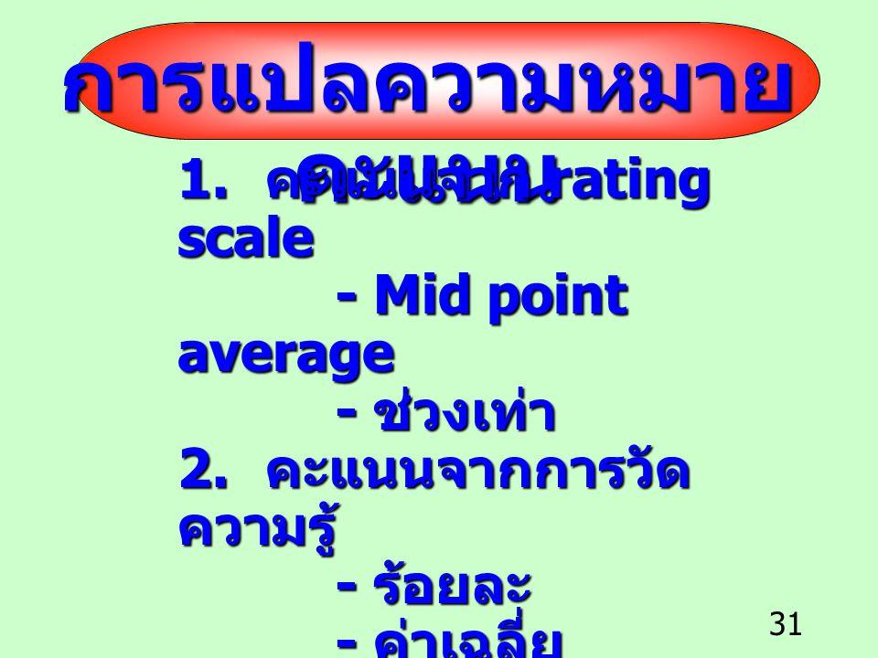 31 การแปลความหมาย คะแนน 1. คะแนนจาก rating scale - Mid point average - Mid point average - ช่วงเท่า - ช่วงเท่า 2. คะแนนจากการวัด ความรู้ - ร้อยละ - ร้