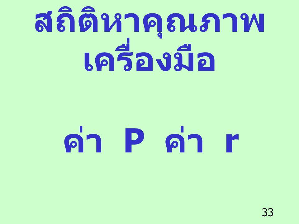33 สถิติหาคุณภาพ เครื่องมือ ค่า P ค่า r